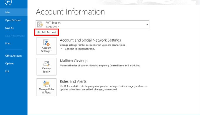 add outlook account