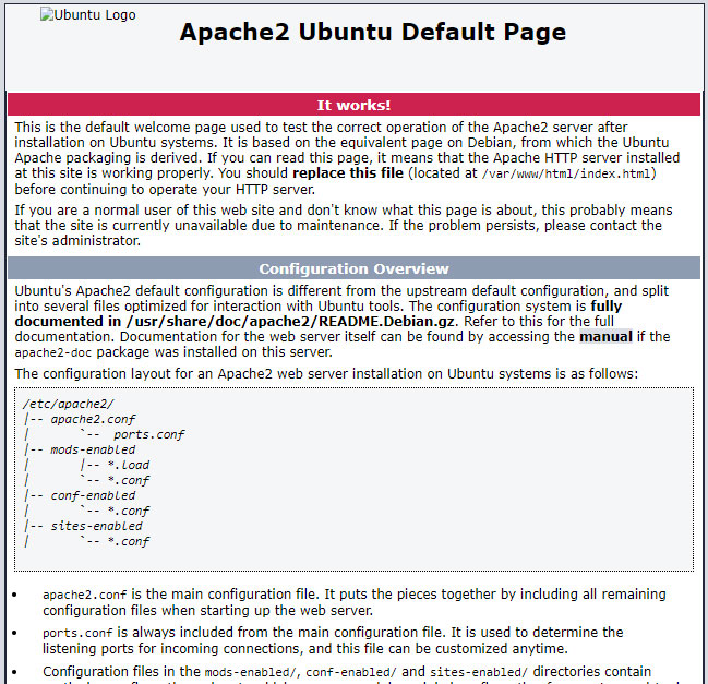 install apache default page