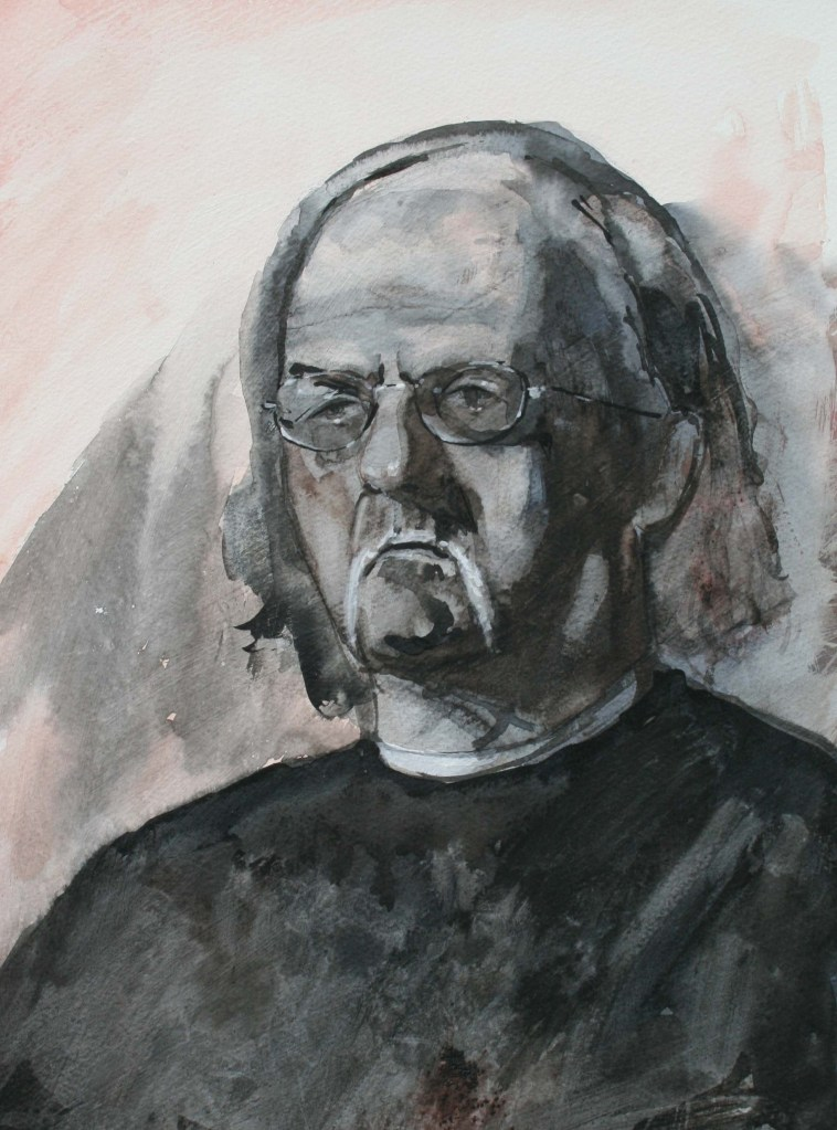 portret naar levend model gemengde techniek (25x35)