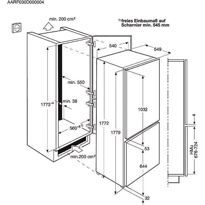 Frigorifero Congelatore 3 cassetti, da incasso Combinato Classe A+ ...