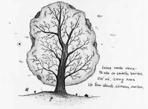 Laime nenāk viena - / Tā nāk ar laimīšu bariņu. / Zin' kā, izaug koks / Un tam daudz, sīkmazu zariņu.