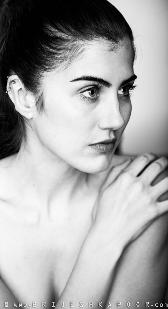 CANADIAN MODEL MELISSA PLANTE BEAUTIFULLY PHOTOGRAPHED BY BRIJESH KAPOOR PHOTOGRAPHY IN A BLACK AND WHITE CAMERA SETTING