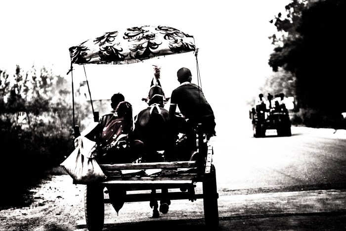 BLACK AND WHITE STREET PHOTOGRAPHY PICTURE BY BRIJESH KAPOOR OF A HORSE CART IN A VILLAGE IN INDIA