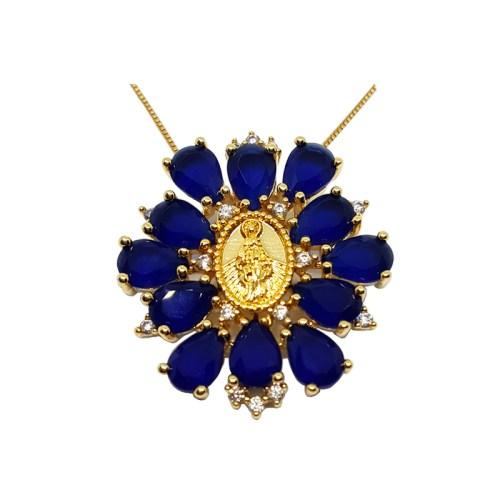 Colar nossa senhora das graças cristais azuis joia folheada