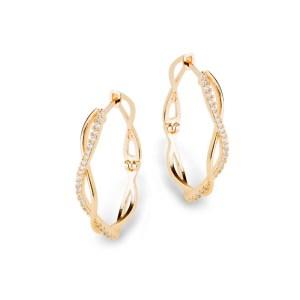 Brinco argola oval média trançada zircônias folheada ouro