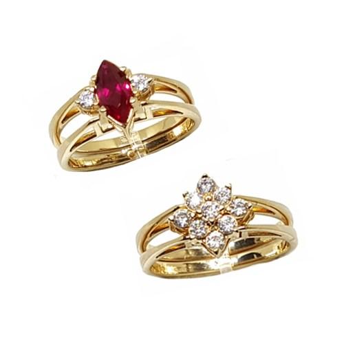 Anel de formatura feminino cristal delicado 2 em 1 dourado