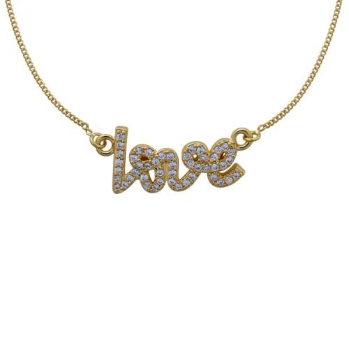 Colar love com zircônias folheado ouro 18k