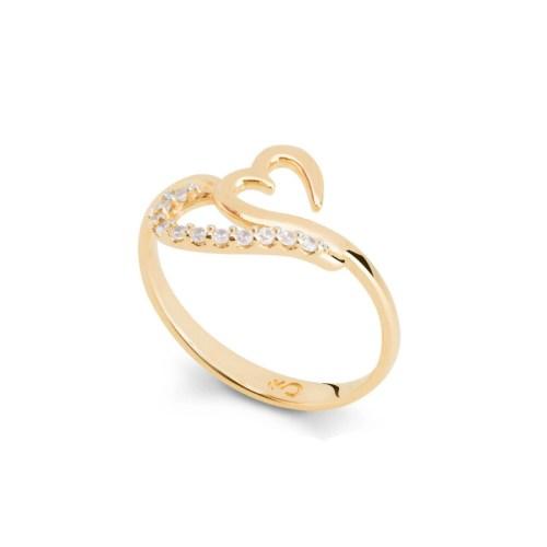 Anel coração estilizado com zircônias brancas joia folheada ouro 18k