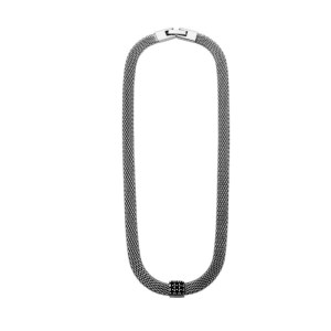 Choker malha metal com pingente fixo quadrado ródio negro
