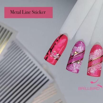 Metal Line Sticker Gold - Brillbird България - Самозалепващ стикер за нокти 3