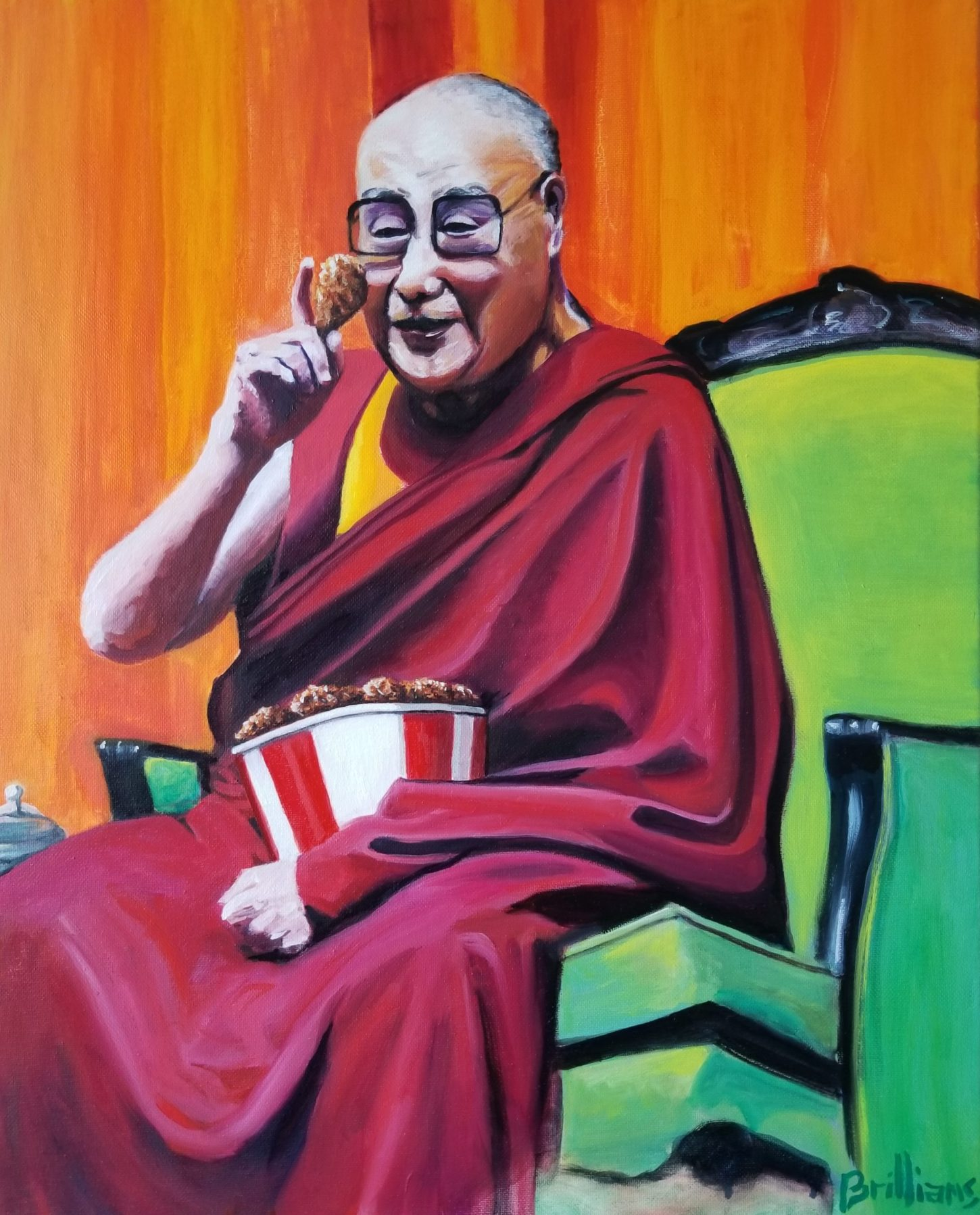 """""""The Dalai Lama on The Virtues of Chicken"""" Painting"""