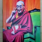 The Dali Lama on the Virtues of Fried Chicken Canvas Print