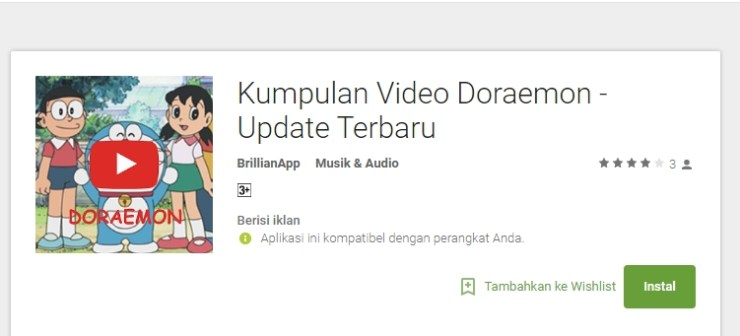 Aplikasi Kumpulan Video Doraemon
