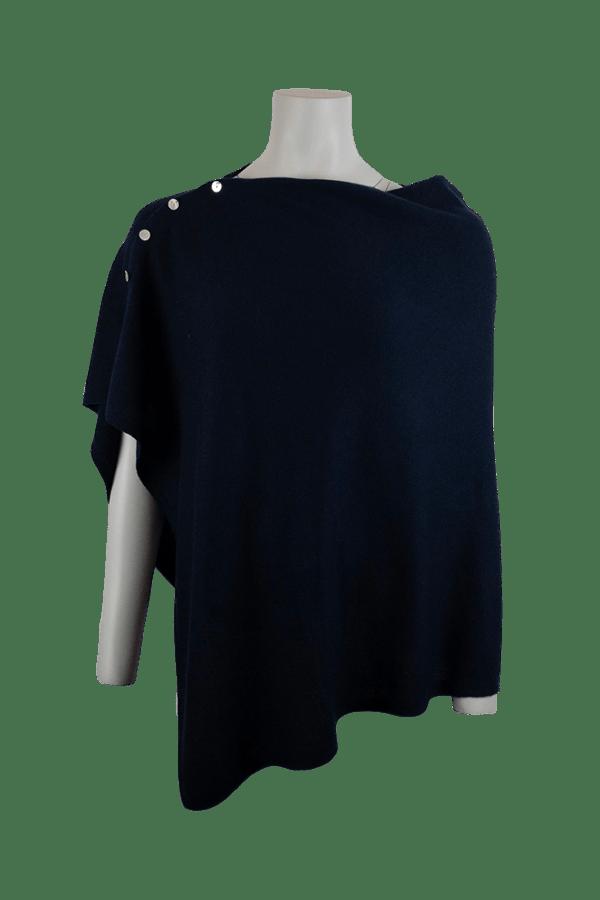 Marinblå mycket fin poncho i 100% kashmir