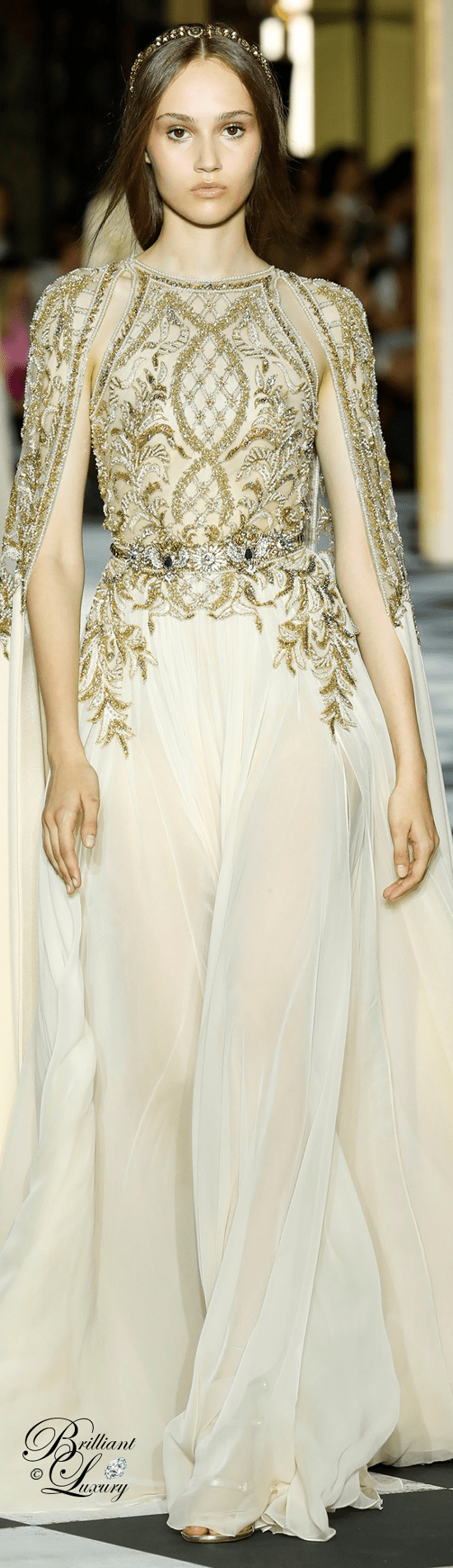 Zuhair Murad Couture Gowns long jewel embroidered caftan like dress in powder white chiffon