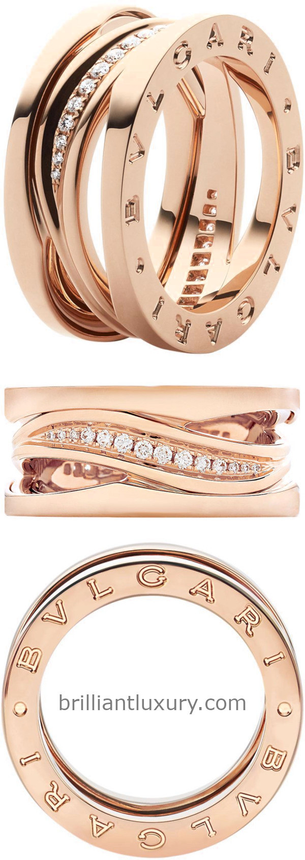 Bvlgari B.Zero1 Design Legend ring in 18kt rose gold set with pavé diamonds on the spiral