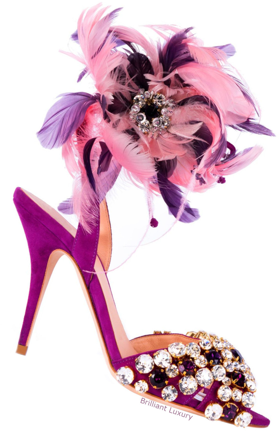 Gedebe feathered sandals in pink