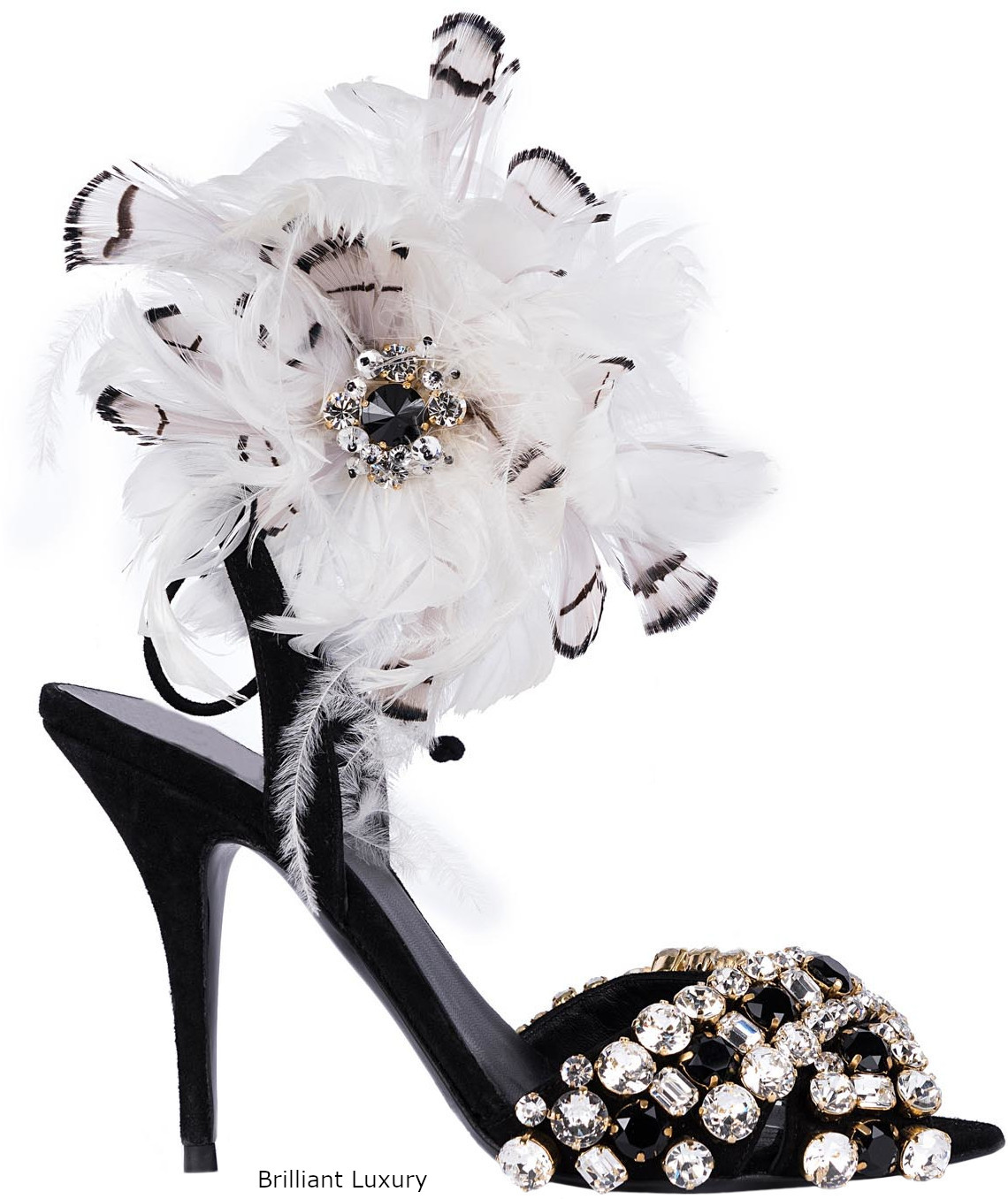 Gedebe bejeweled and feathered sandals in black and white