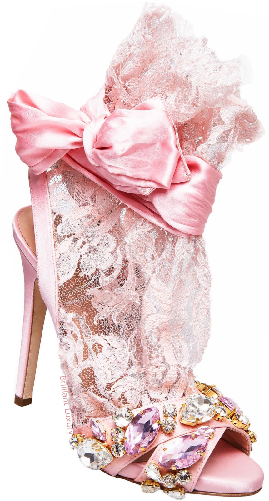 Gedebe satin lace sandals in pink