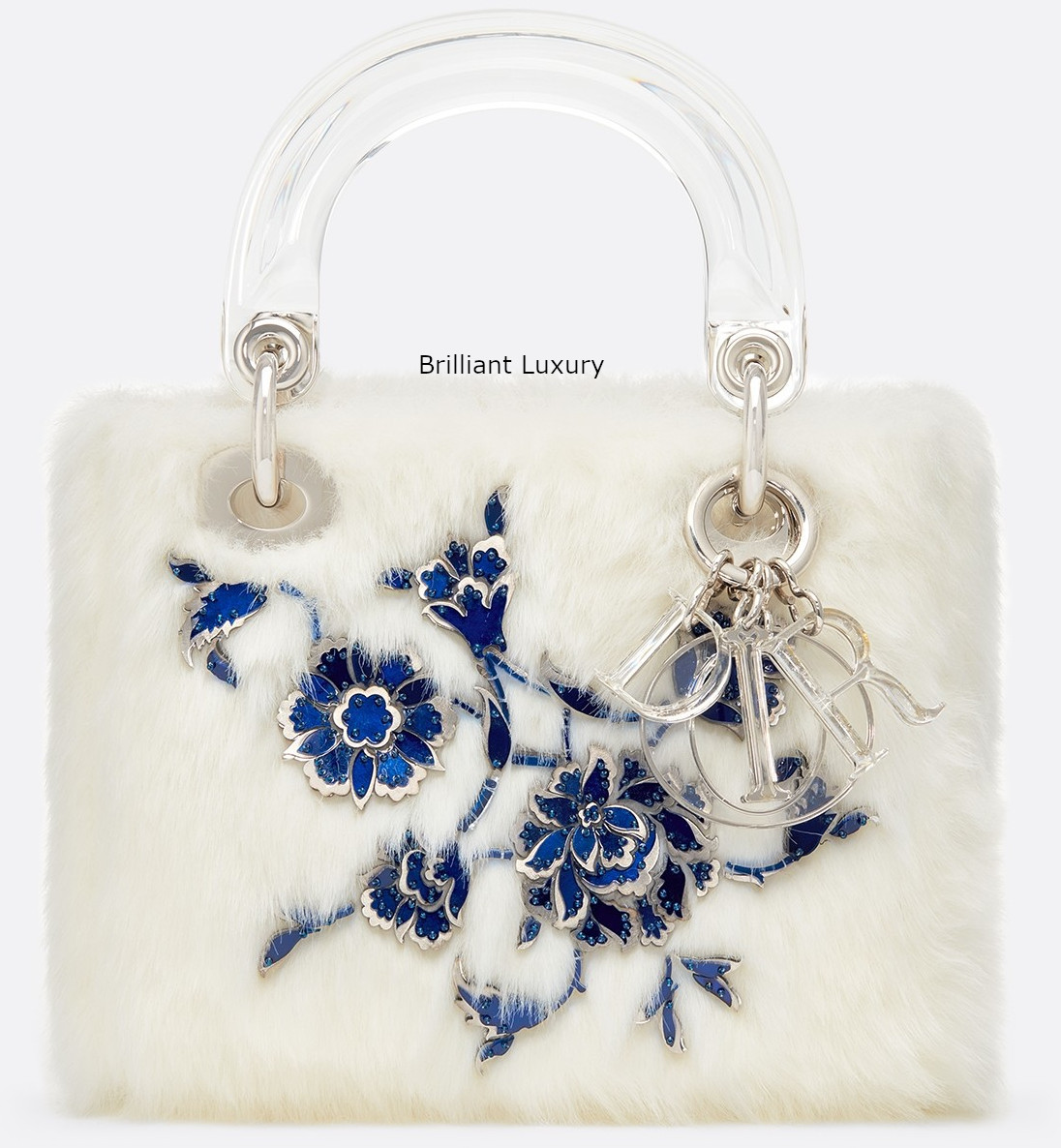 Lady Dior Art Bag in optic white color faux fur embroidered with metallic and blue flowers Designer Burçak Bingöl