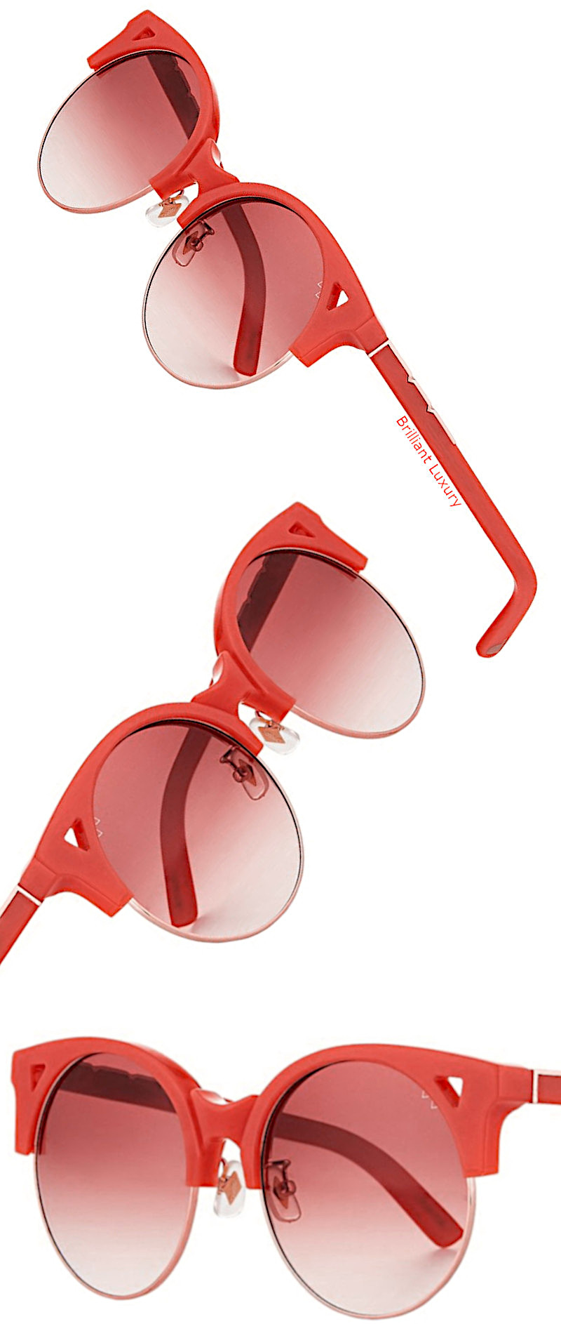 Up & At Em semi-rimless round sunglasses in coral