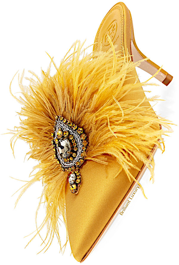 Tory Burch Elodie feather embellished satin mules in yellow