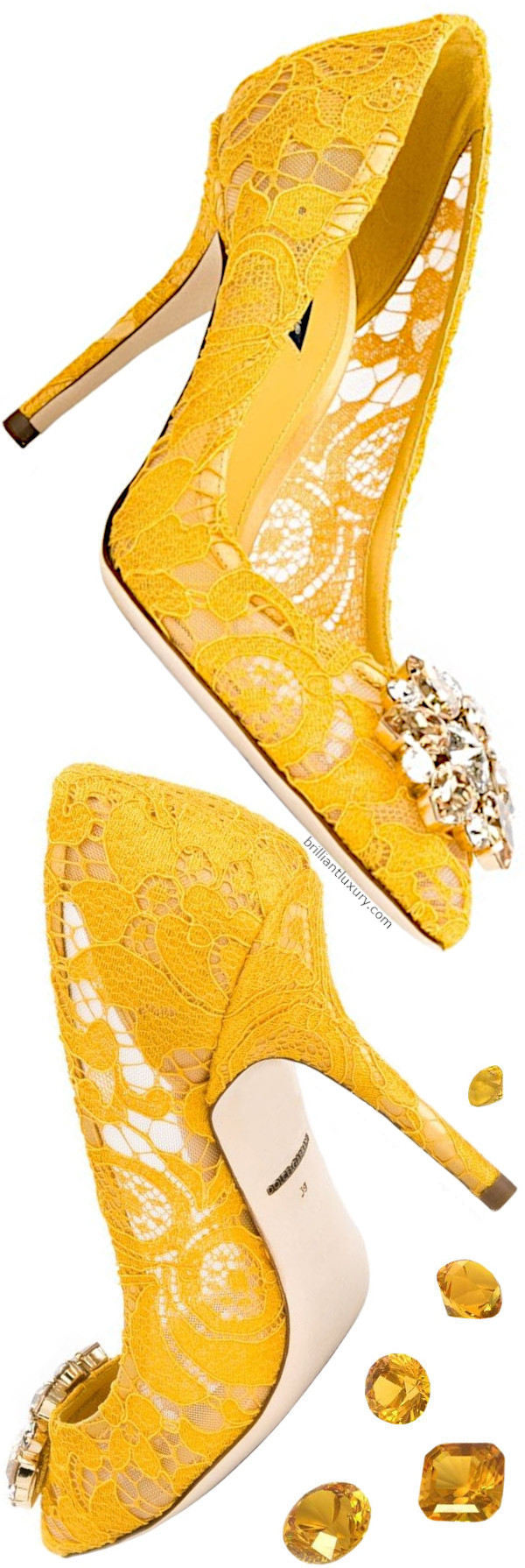 Dolce and Gabbana Belluci Bejeweled Lace Pumps in Pantone Color Saffron