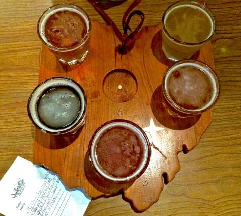 "Jackie O's signature ""State of Ohio"" beer flight board"