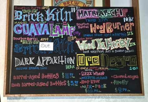 Jackie O's brewery chalk board
