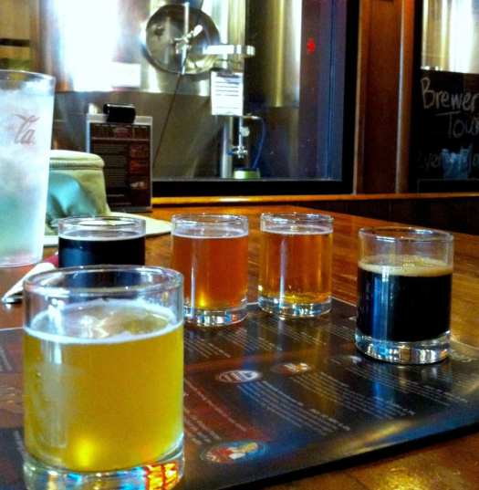 A flight of beer sample at Morgantown Brewing's downtown brewpub.