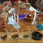 beer flight at Catawba Brewing tasting room in Asheville