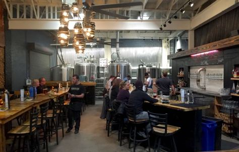 Asheville brewery Bhramari Brewhouse taproom interior