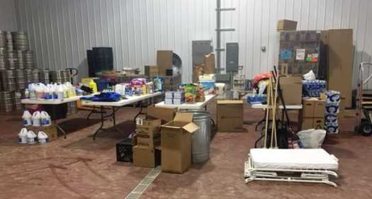 flood relief supplies at Mountain State Brewing Co.