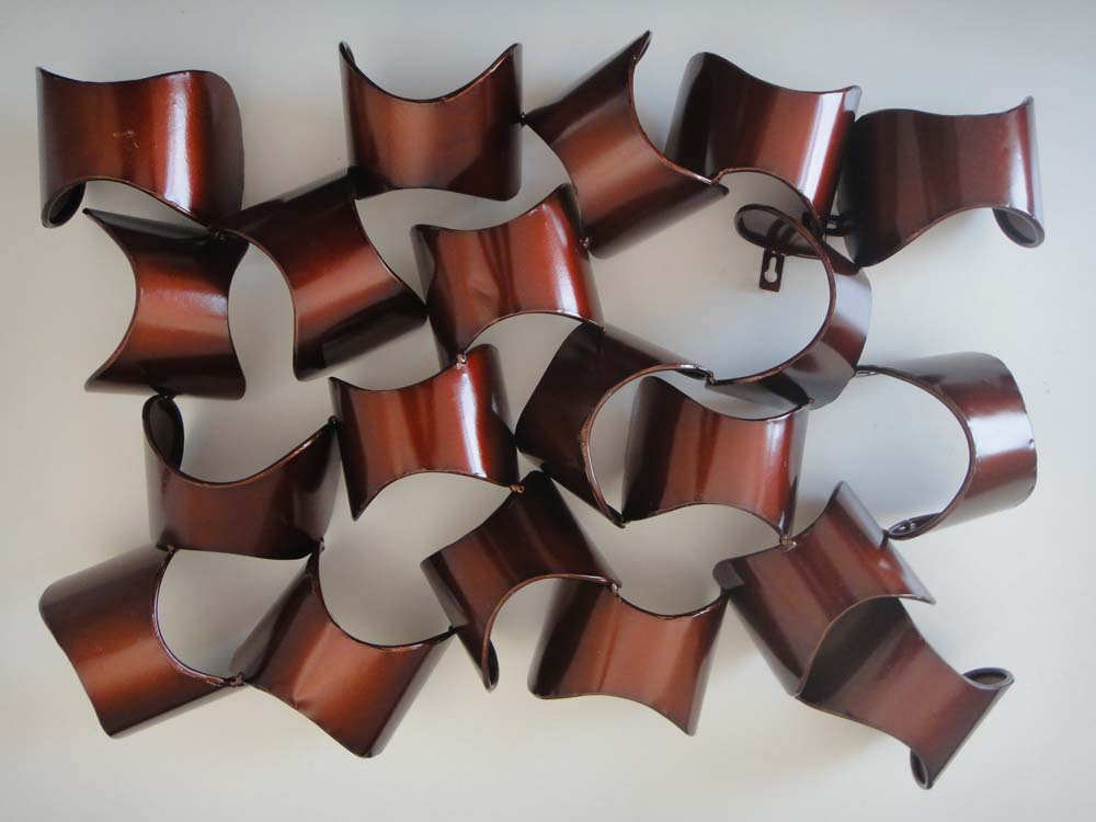 Contemporary Metal Wall Art - Dark Red Abstract Shapes