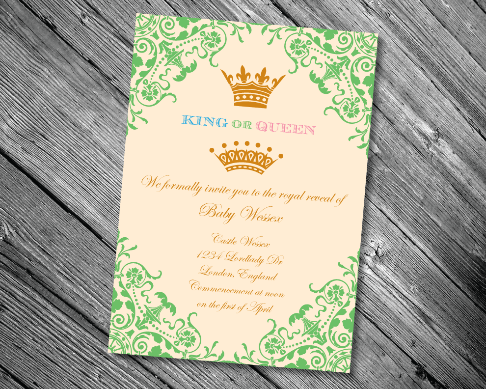 King or Queen Baby Gender Reveal Invitation
