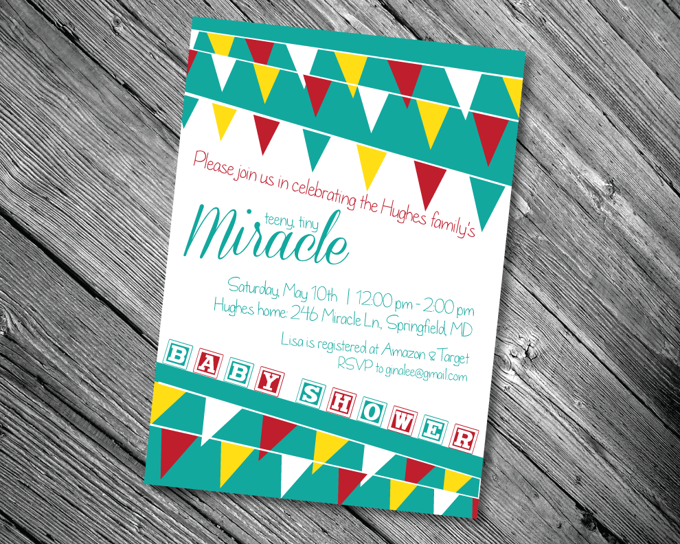 Red & Aqua Baby Shower Invitation