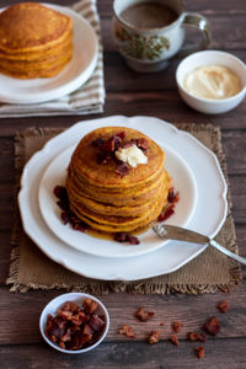 Pumpkin Pancakes with Bacon Bourbon Butter