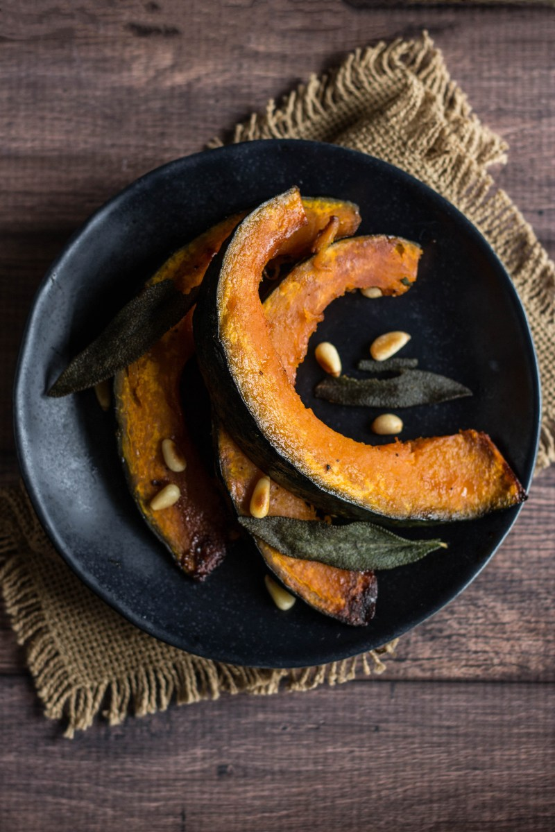 Kabocha Squash with Maple Butter Glaze & Fried Sage