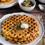 Pumpkin Waffles with Cajeta Caramel and Pepitas