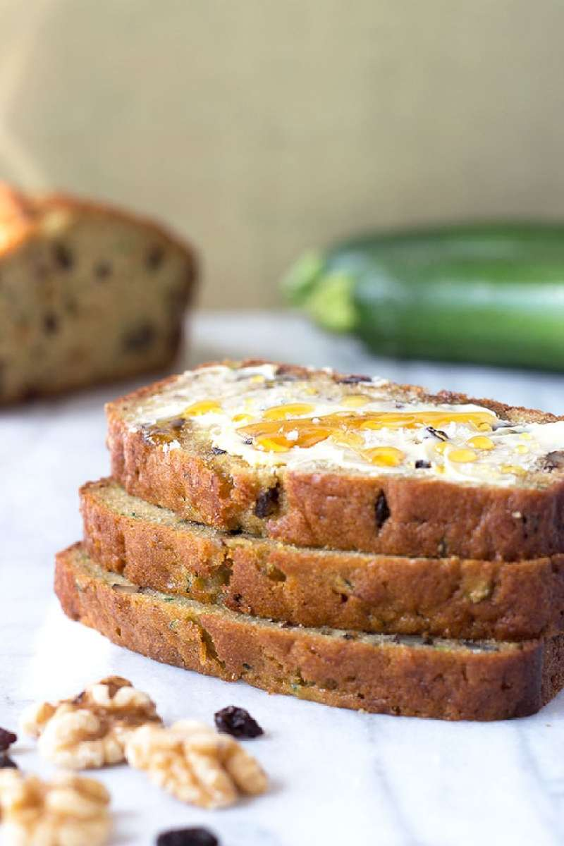 Olive Oil Zucchini Bread with Walnuts & Currants