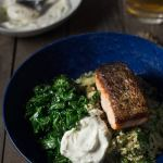 Salmon Quinoa Bowls with Kale & Yogurt Sauce