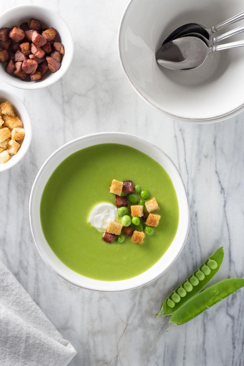 Chilled Spring Pea Soup | Brinasbites.com @Brina's Bites
