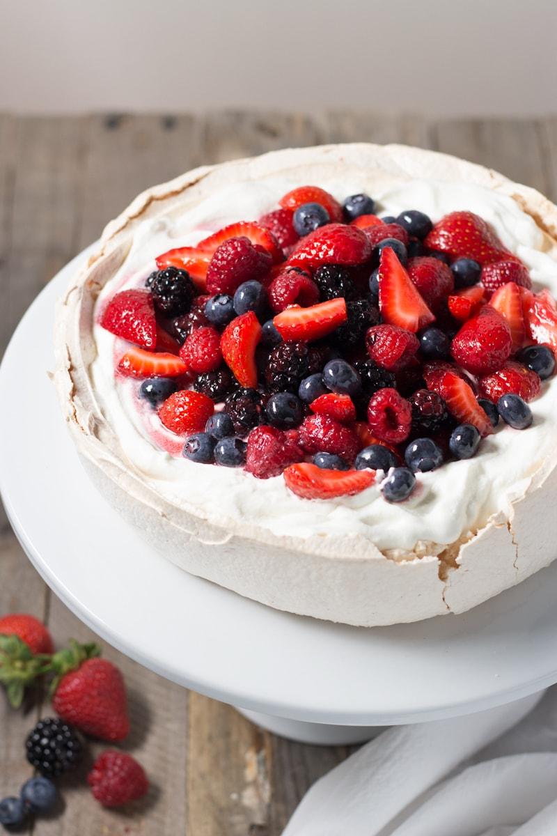 Pavlova with Whipped Cream and Berries | Brinasbites.com @Brina's Bites