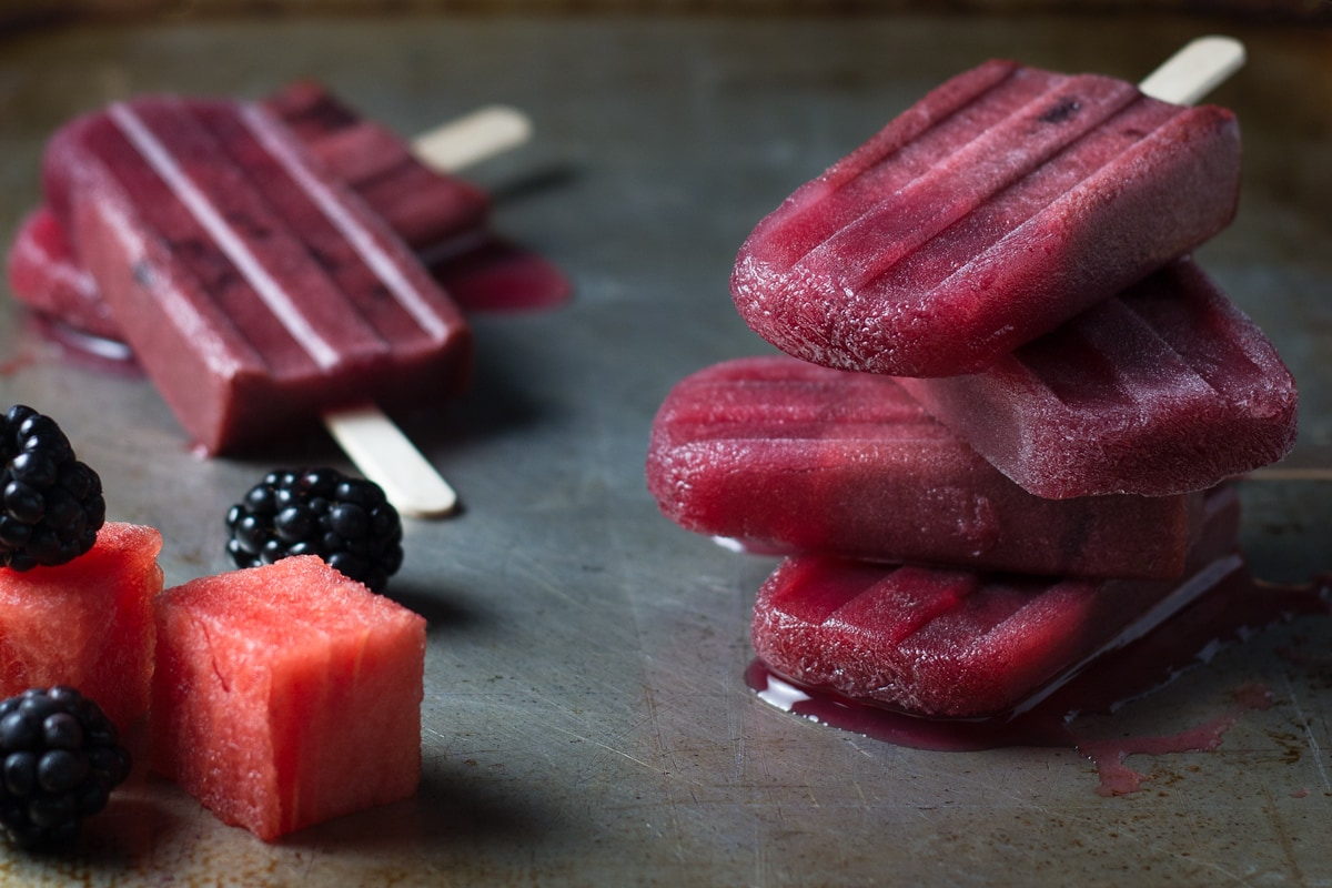 Blackberry Watermelon Popsicles | Brinasbites.com @Brina's Bites