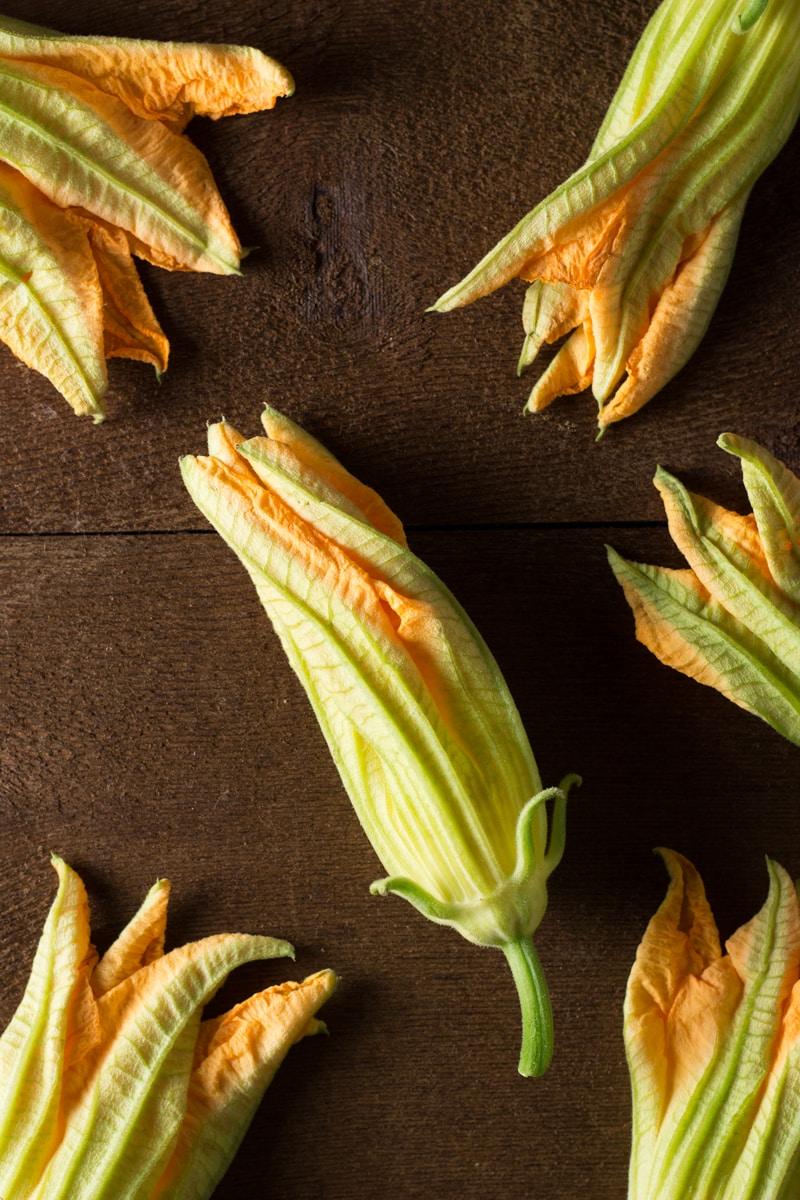Pasta & Zucchini Noodles with Fried Squash Blossom Petals | Brinasbites.com @Brina's Bites