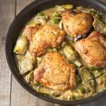 Braised Chicken Thighs & Artichokes with Polenta