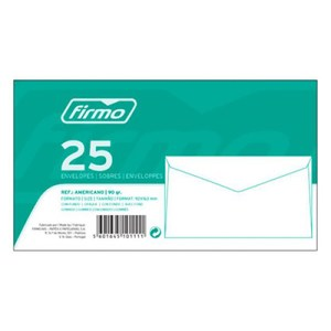 Maço c/25 Envelopes 92x163mm - Americano
