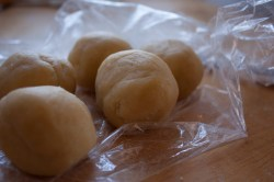 Cookie dough...and stubborn plastic wrap.