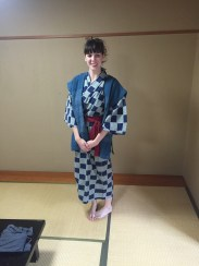 Trying on a yukata for the first time.