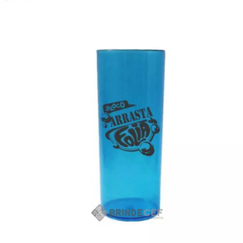 Copo Long Drink Personalizado Azul Transparente